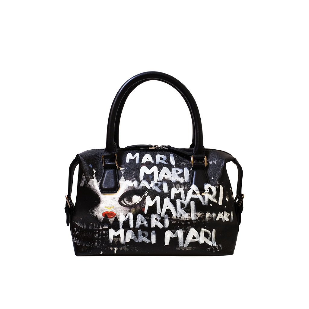 White Lettering Hand Painted Tote Bag